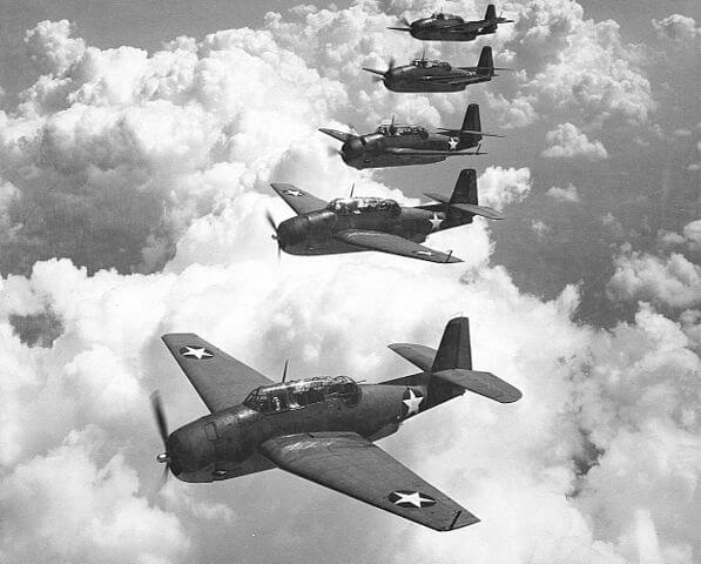 TBF-1 アベンジャー 5機のフライト